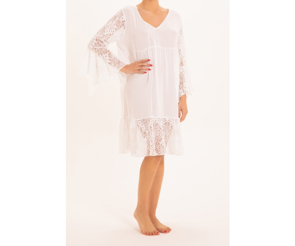 SHORT DRESS LONG SLEEVE LACE WHITE