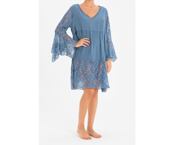 SHORT DRESS LONG SLEEVE LACE BLUE JEANS