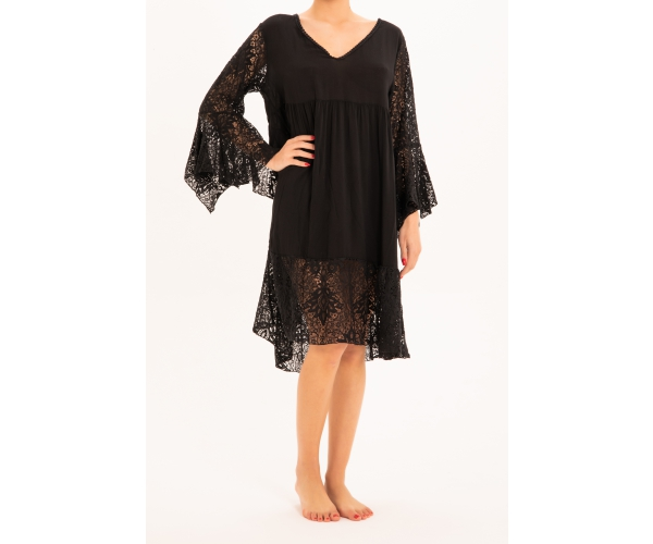 SHORT DRESS LONG SLEEVE LACE BLACK
