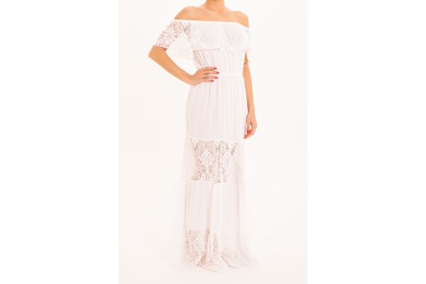 LONG DRESS WITH FLOUNCE LACE WHITE