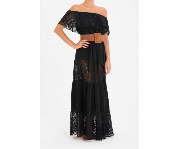 LONG DRESS WITH FLOUNCE LACE BLACK