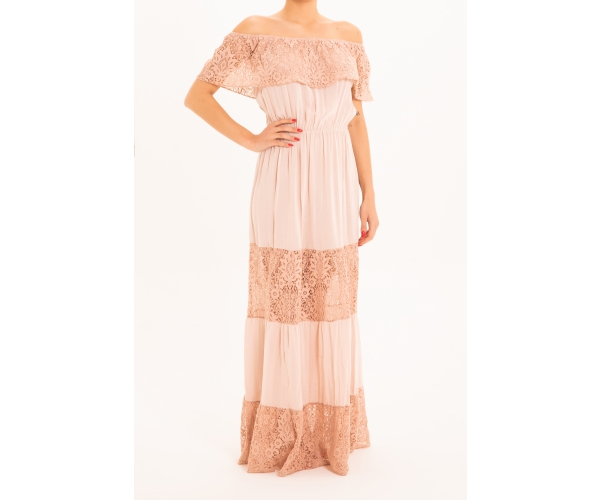 LONG DRESS WITH FLOUNCE LACE PINK