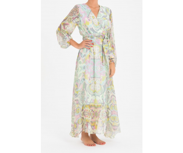 LONG DRESS WITH SLEEVES SAUSALITO GREEN