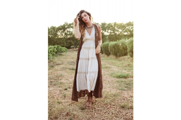 LONG DRESS WITH SHOULDER STRAPS IVORY