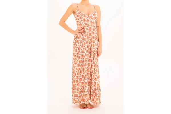 LONG DRESS WITH SHOULDER BOUQUET IVORY