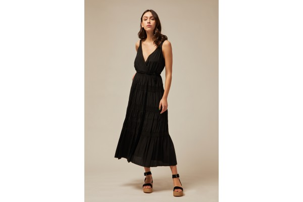 LONG DRESS WITH SHOULDER STRAPS BLACK