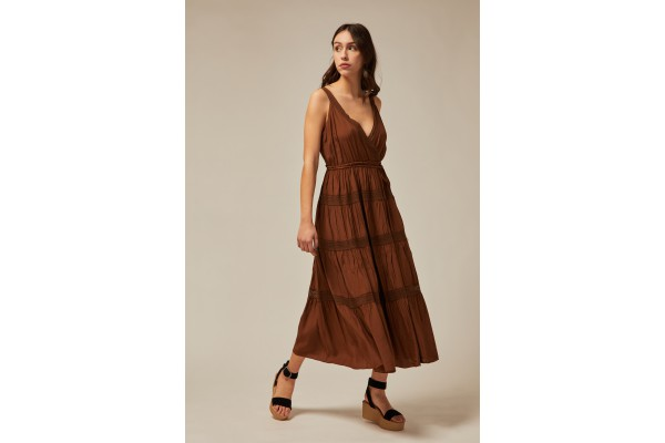 LONG DRESS WITH SHOULDER STRAPS BROWN