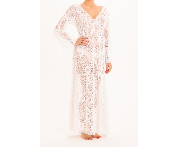 LONG DRESS LONG SLEEVE LACE WHITE