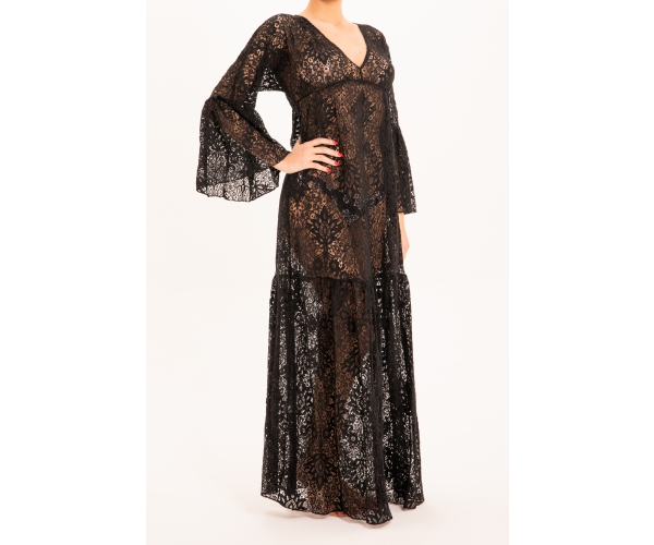 LONG DRESS LONG SLEEVE LACE BLACK