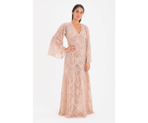 LONG DRESS LONG SLEEVE LACE PINK
