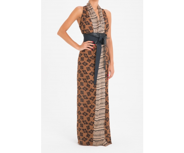 LONG SLEEVELESS DRESS ETNICO BROWN
