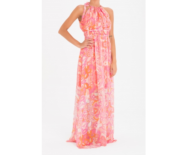 LONG SLEEVELESS DRESS SAUSALITO PINK