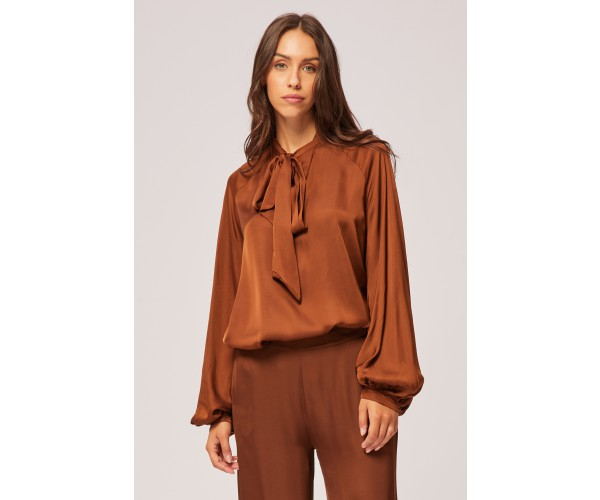 BOW BLOUSE BROWN