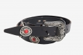 LEATHER BELT STUDS AND RED STONES