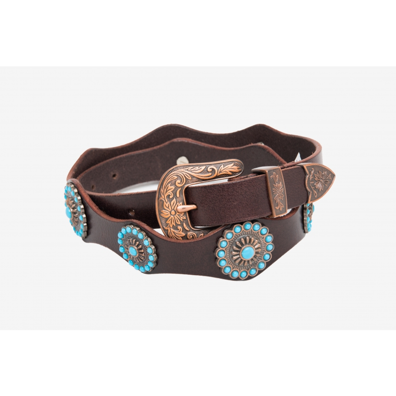LEATHER BELT STUDS AND TURQUOISE STONES