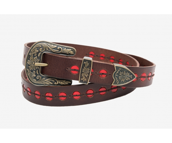 BELT LEATHER WITH RED BUTTONS