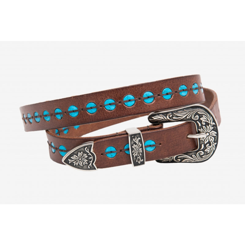 BELT LEATHER TURQUOISE BUTTONS