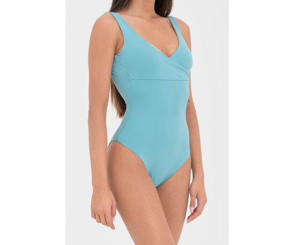 SWIMSUIT DOUBLE GREEN-IVORY