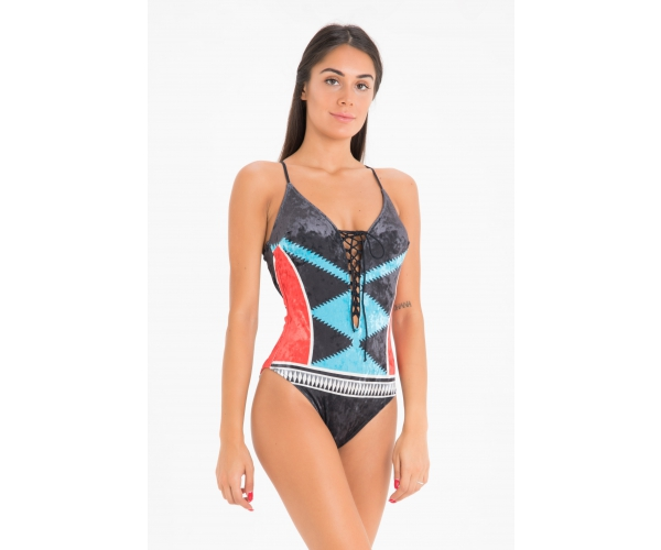 SWIMSUIT TRIBAL BLACK-RED