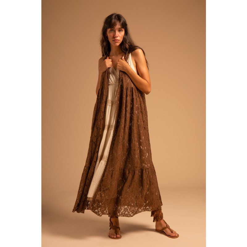 LACE GILET BROWN