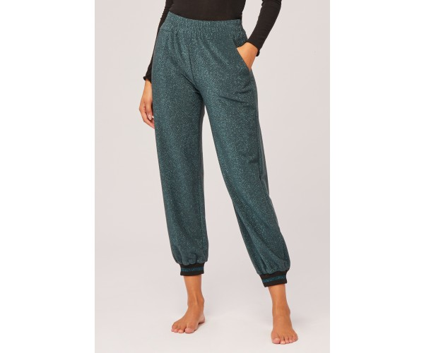 TIGHT LUREX TROUSERS BLUE