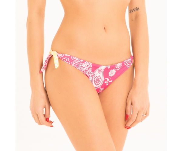 BRAZILIAN BOTTOM WITH LACES MANDALA FUXIA/YELLOW